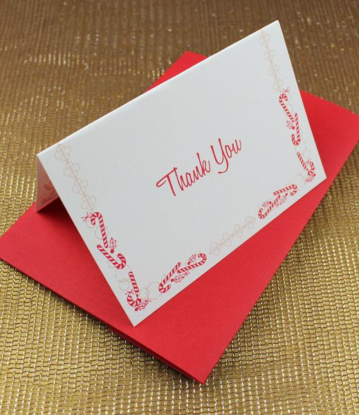 christmas thank you card templates with candy cane