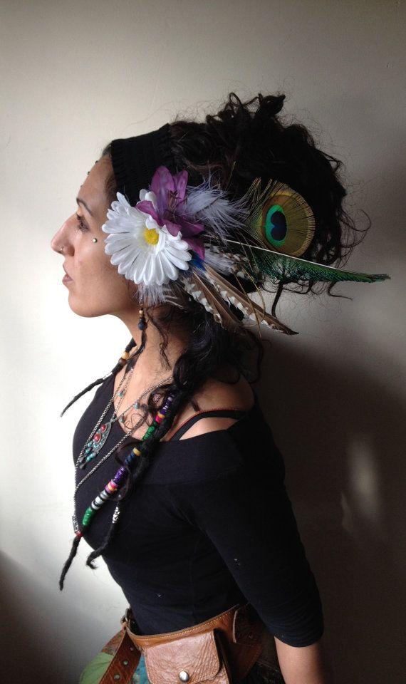 Festival, tribal, flower & feather fairy headdress