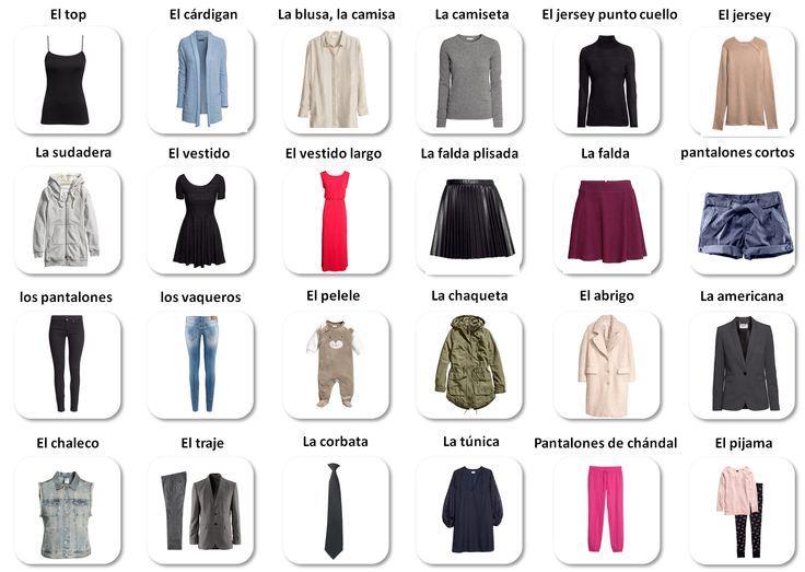 Prendas de vestir   Spanish - foreign language   Pinterest