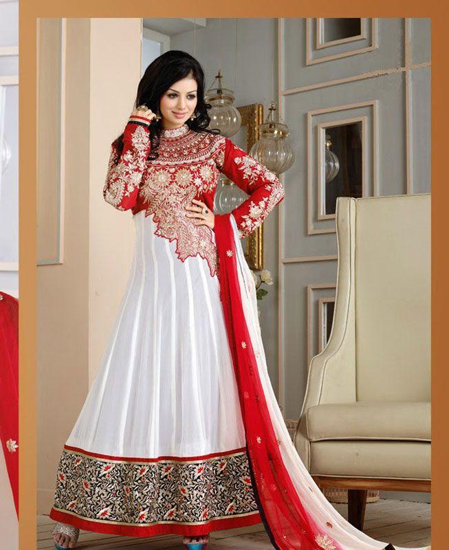 ee8de07e40d1c red and white salwar SUIT - Google Search Salwar Kameez, Anarkali Elbise,  Pakistan Kıyafetleri