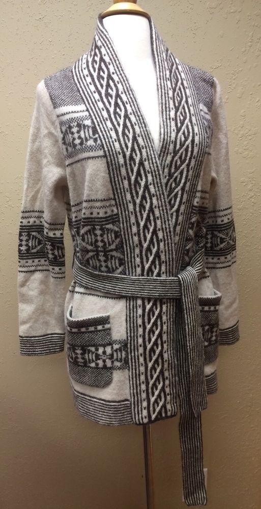 Pendleton Lodge Cardigan Wool Alpaca Wrap Tie Sweater Size Medium Petite MP | eBay
