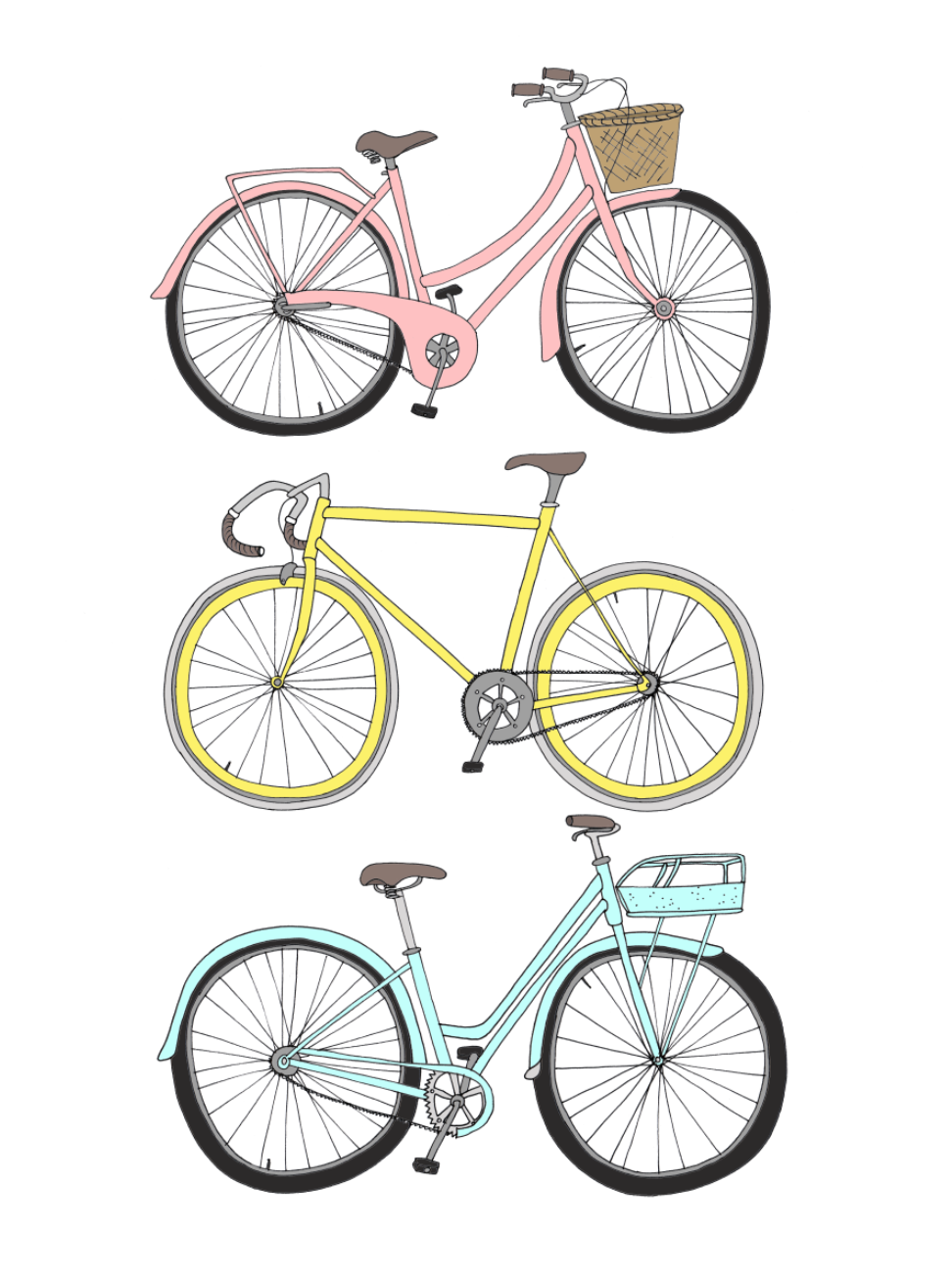 Bicycles by emmakisstina on etsy art print velo dessin - Bicyclette dessin ...