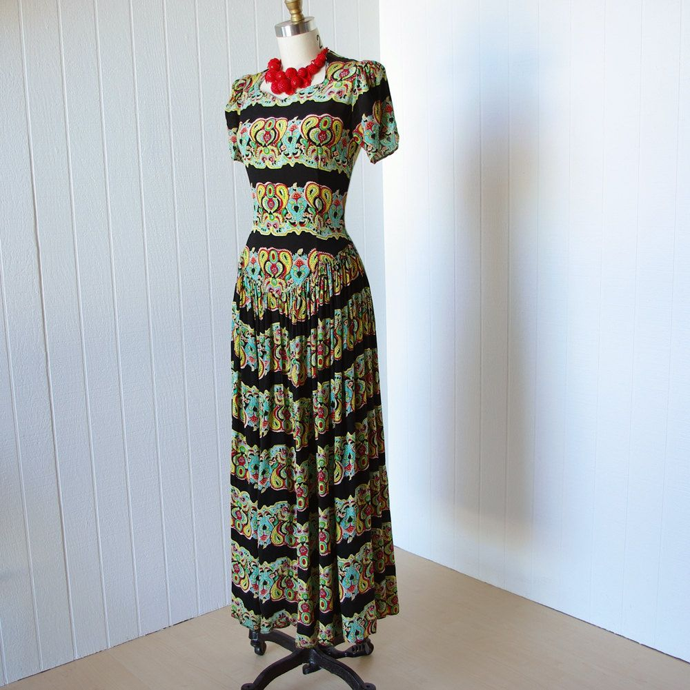 Vintage us dress gorgeous forties paisley floral rayon