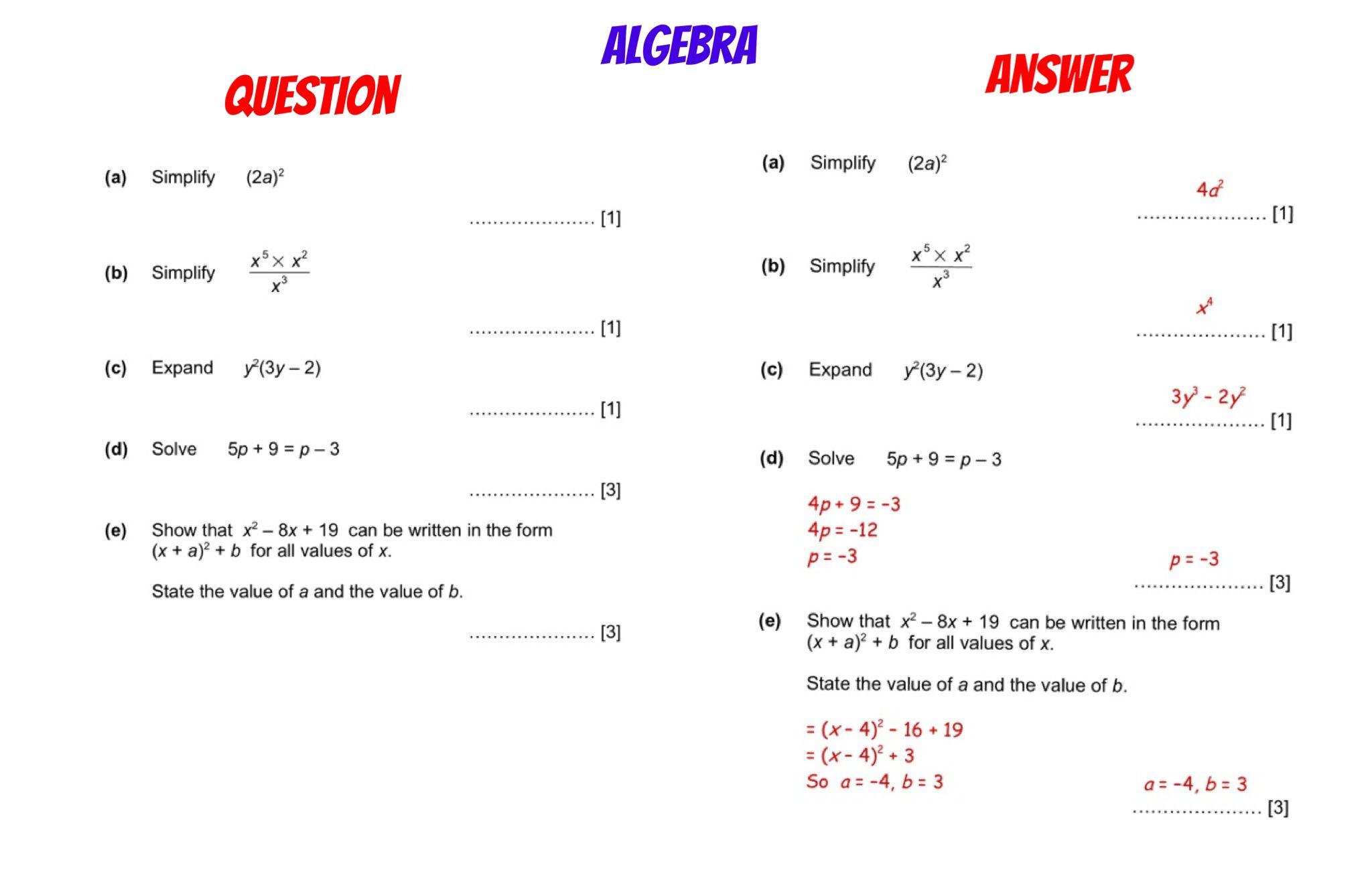 Gcse Revision Higher Algebra