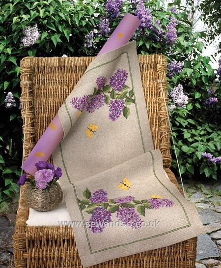 Lilac cross stitch table runner.