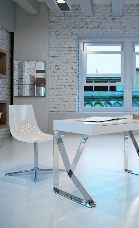 brown, white wooden and stainless steel desk, Houston desk