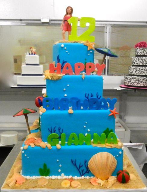 Beach birthday 4-tier
