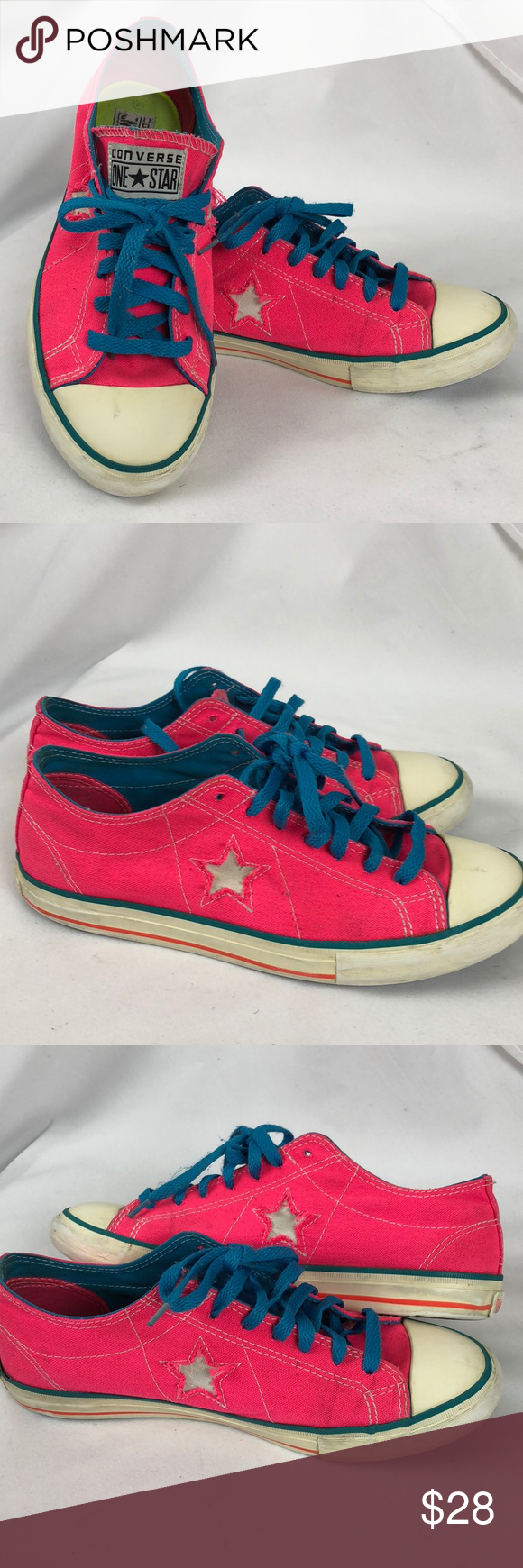 10d25549ca4a Hot Pink one star Converse sneakers Pre loved Size 9 hot pink converse one  star sneakers in hot pink with blue laces this have common signs of wear  Converse ...