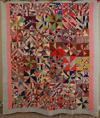30's Pinwheel Windmill Hand Stitched Antique Quilt Cheery Vintage Prints | eBay