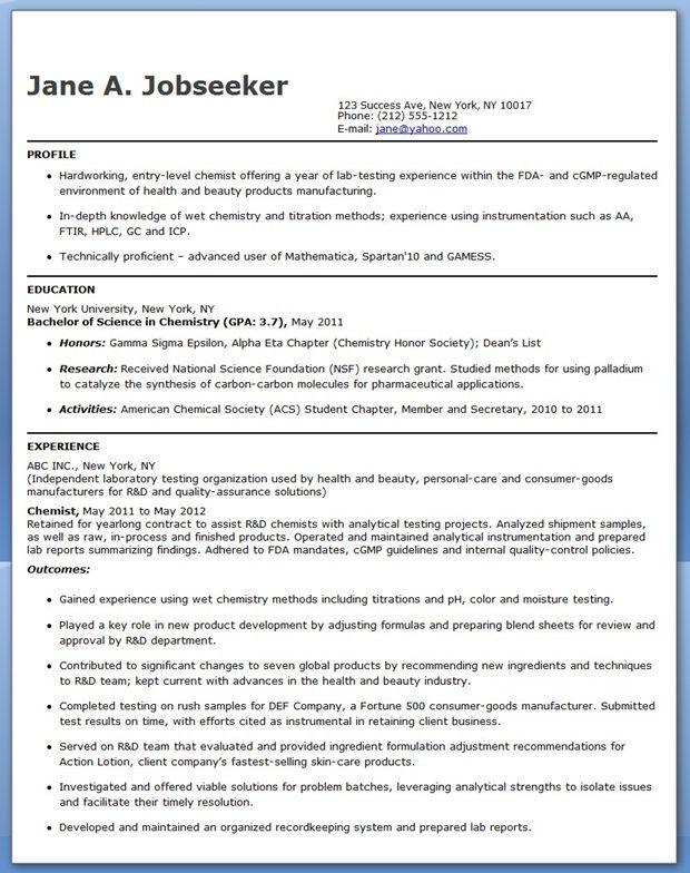 Entry Level Chemistry Resume Sample Creative Resume