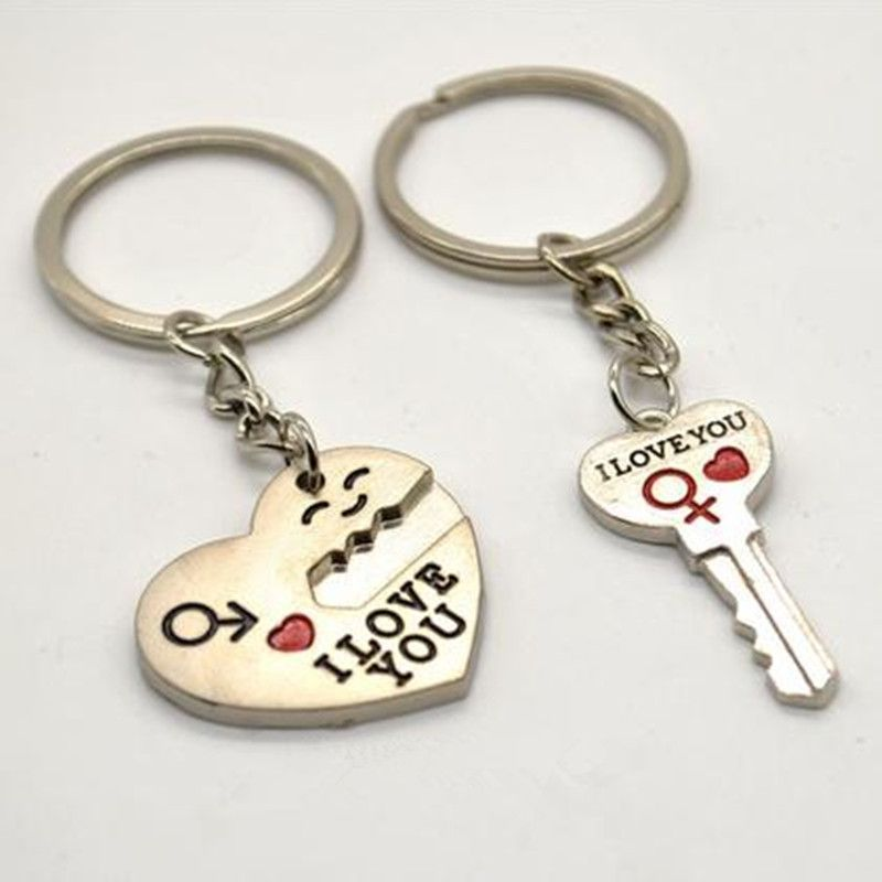811ea05560 2015 New 1 Pair Zinc Alloy Silver Plated Lovers Gift Couple I Love You Heart  Keychain Fashion Keyring Ring Set Creative