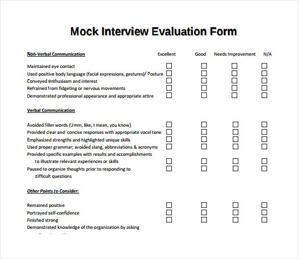 Mock Interview Evaluation Form Interview questions Pinterest