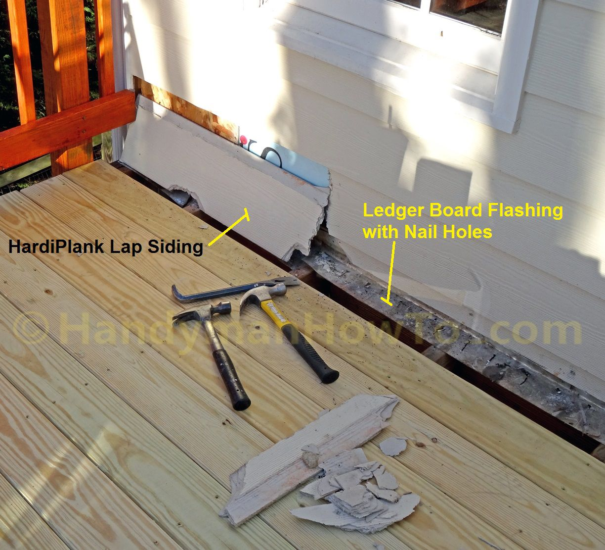Remove Lap Siding To Replace Deck Ledger Board Flashing