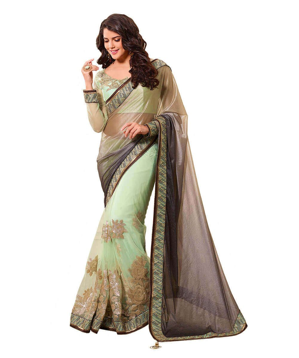 fcc3e8881 Imported Greyblack Padding Lycra And Net Saree With Embroidery work ...