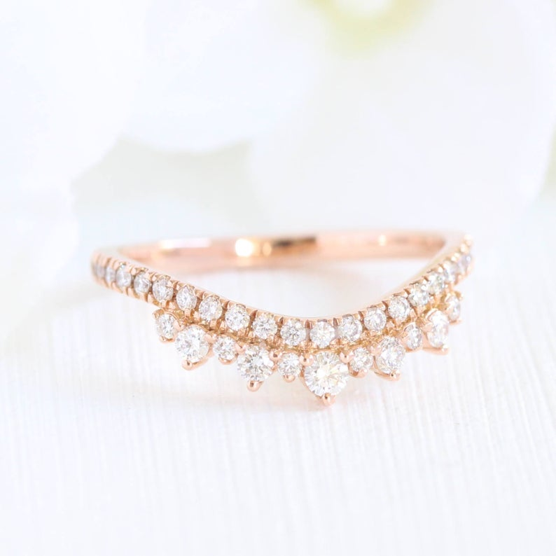 Crown Diamond Wedding Ring in Rose Gold Curved Wedding