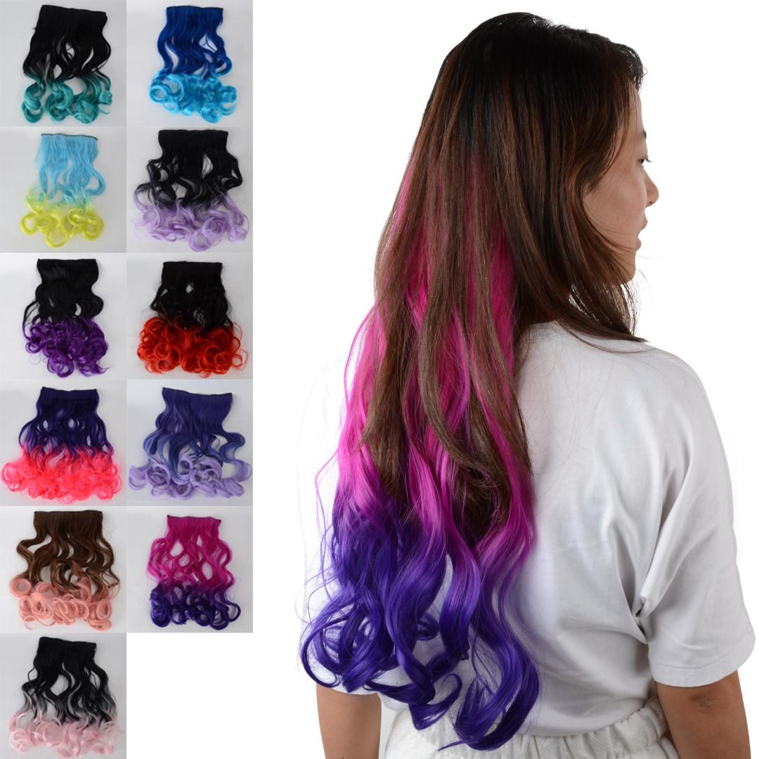 Ombre Bunt curl ombre hair clip in hair extensions hair pieces 12
