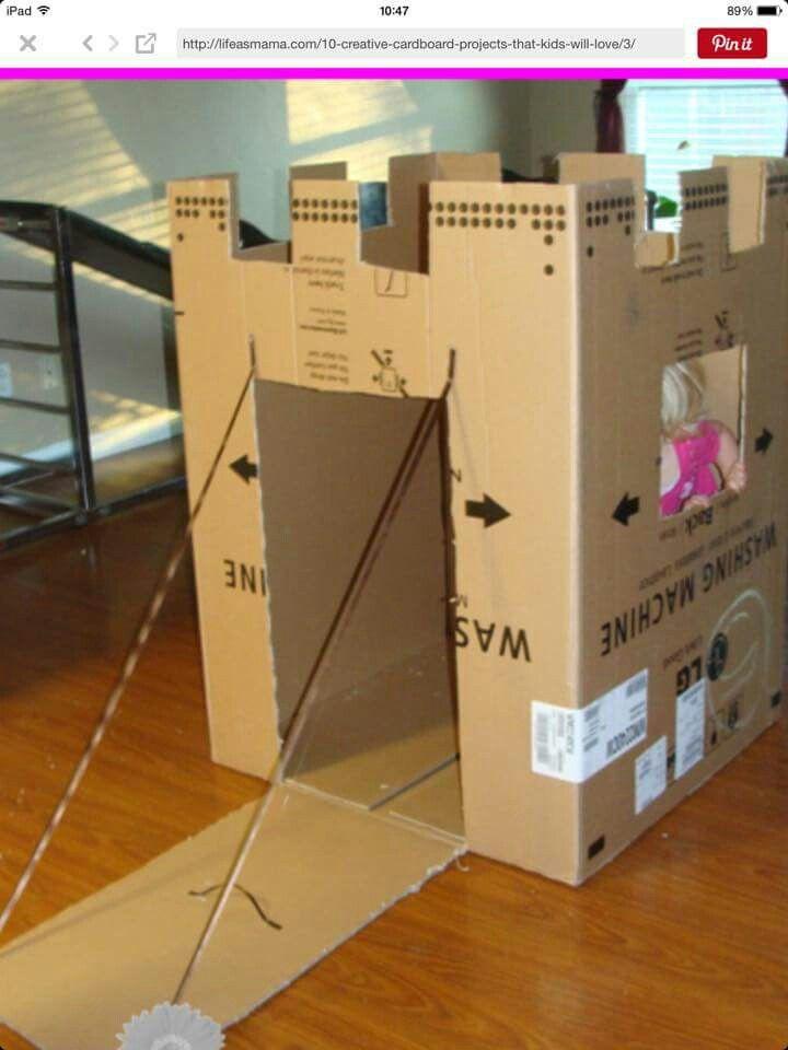 Castillo De Carton Ideal Para Las Pequenas Princesas De La Casa Ademas Reutilizamos Esa Ca Artesanias Con Caja De Carton Juguetes De Carton Casas De Carton