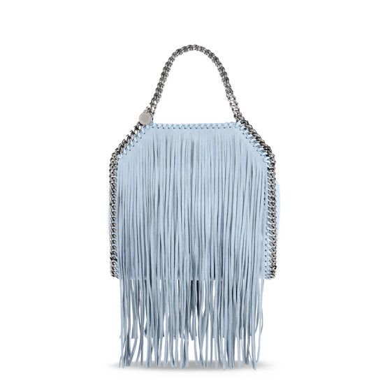 69c32b27282 STELLA MCCARTNEY Duck Blue Falabella Shaggy Deer Fringed Mini Tote.   stellamccartney  bags  leather  hand bags  polyester  tote  lining