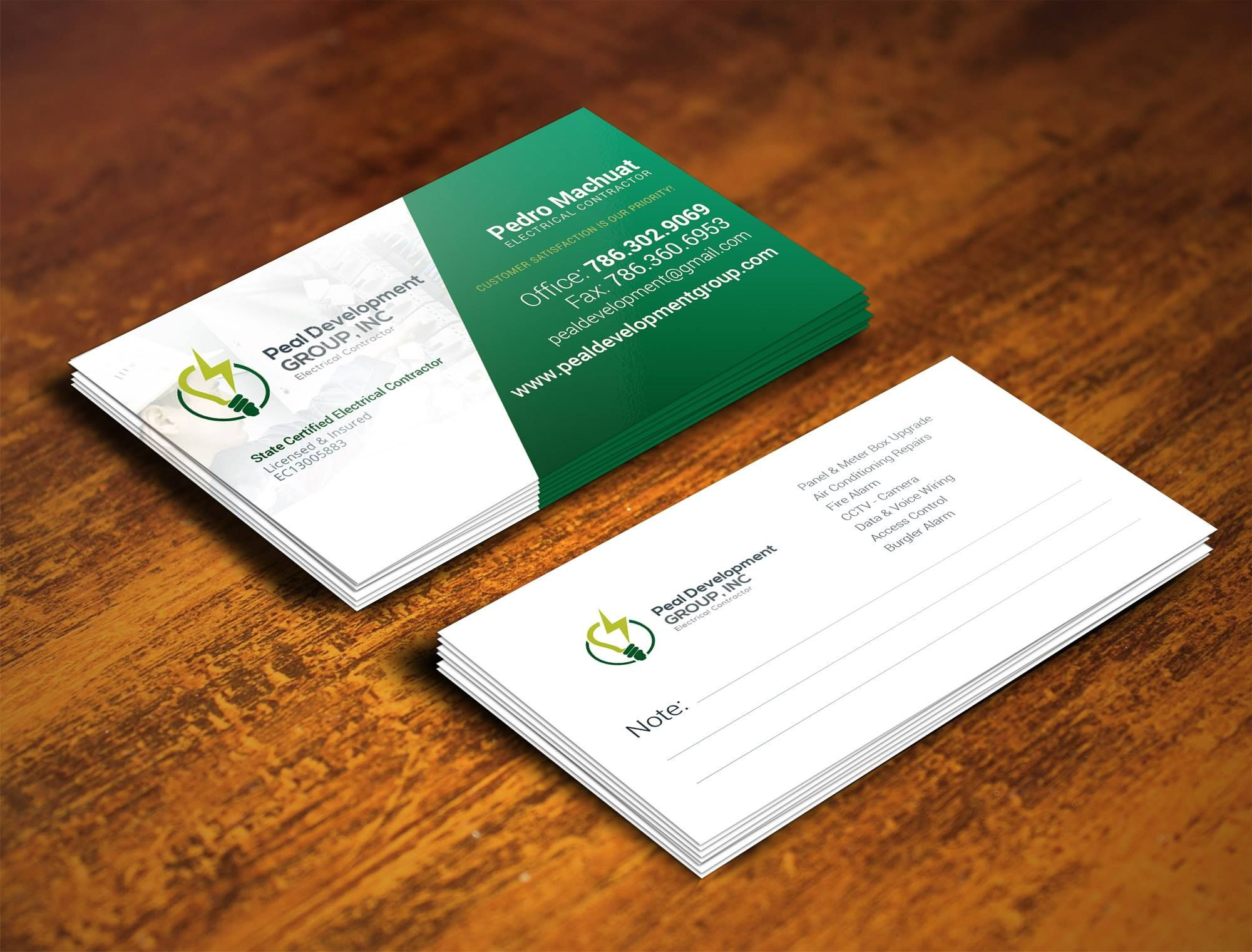 electrical business cards design by qcolors call 305 303 5740