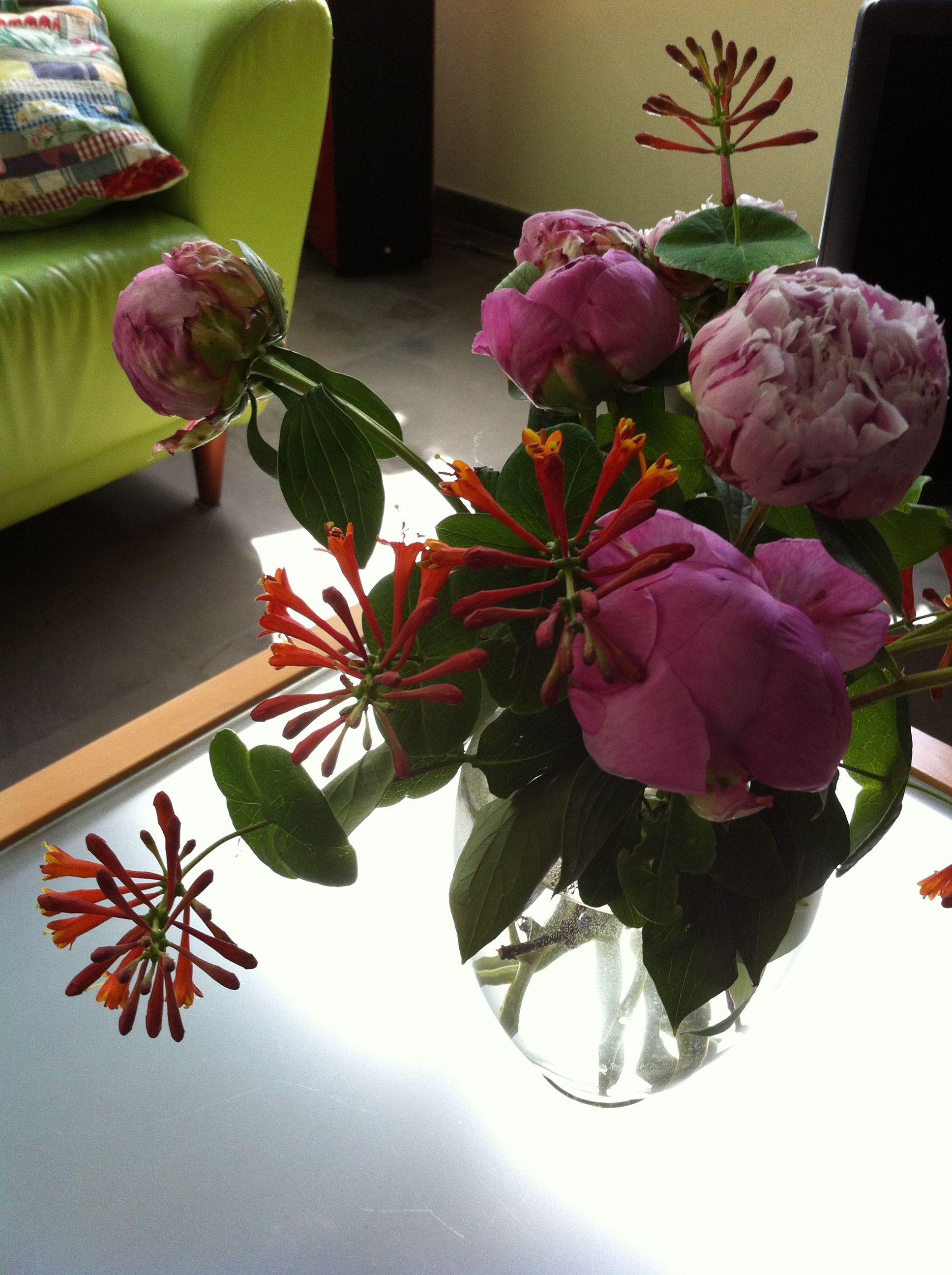Bij mij thuis op tafel pioenen met kamperfoelie uit eigen tuin