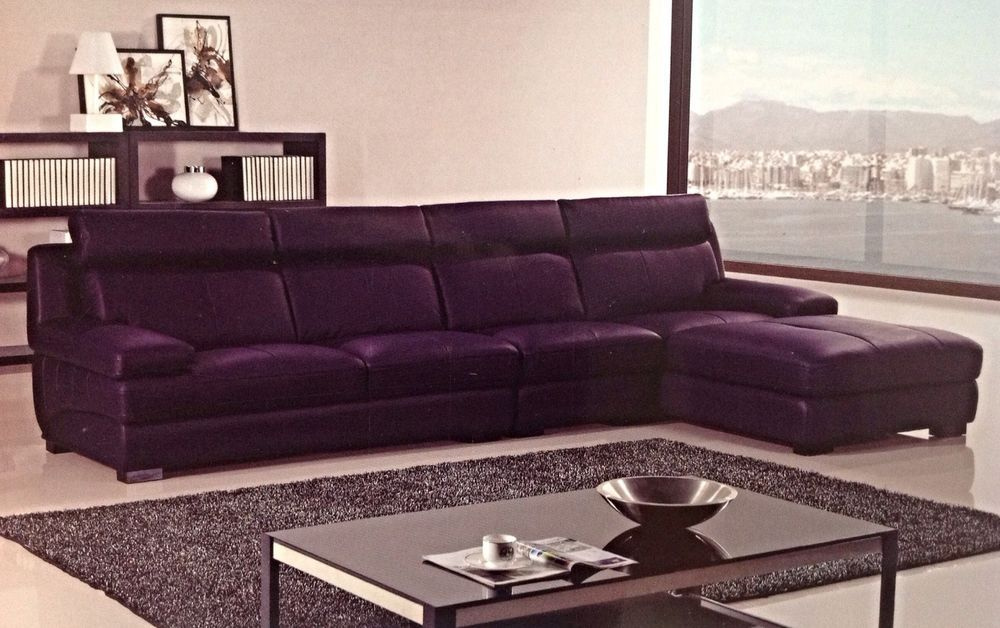 Modern Contemporary Euro Dark Purple Leather Sectional Sofa Chaise