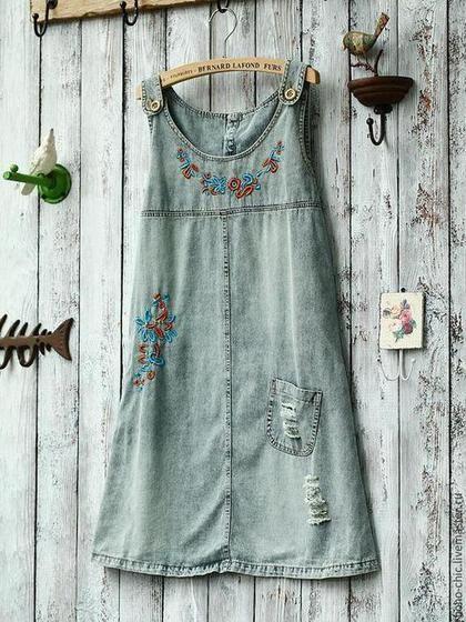 0b587f81da6 Платья ручной работы. Ярмарка Мастеров - ручная работа. Купить сарафан  джинсовый. Handmade.