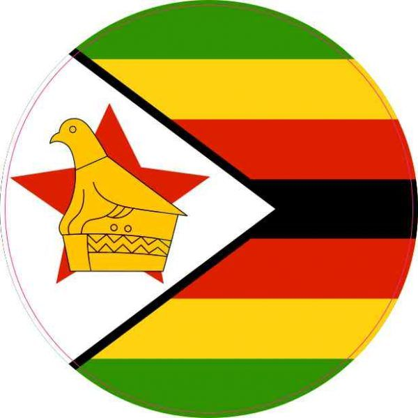 Round zimbabwe flag sticker