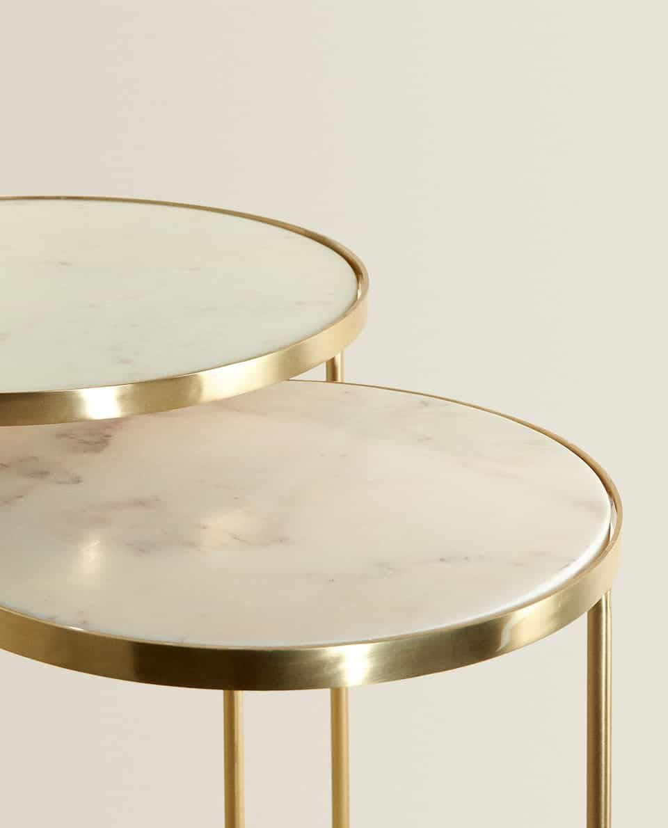 Gold Marble Nest Of Tables Set Of 2 Gold Coffee Table Living Room Coffee Table Table [ 1190 x 960 Pixel ]