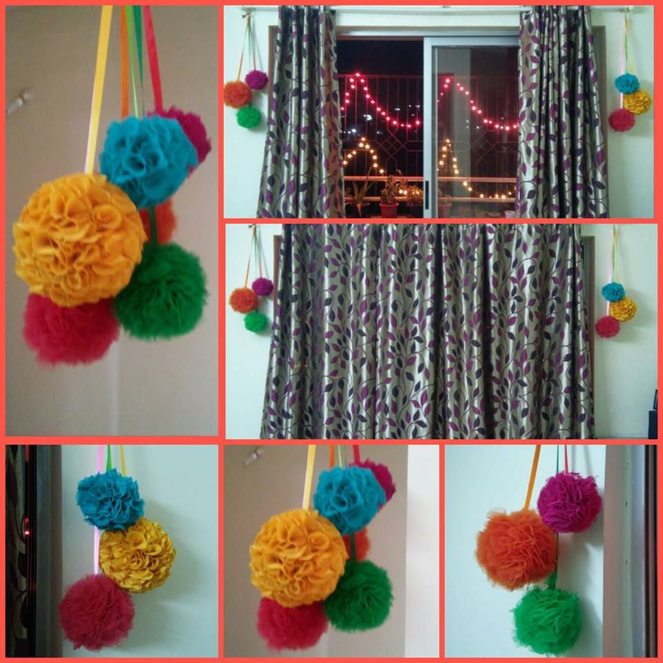 Interior Decoration With Waste Material Diy Fabric Balls Textile Recycling Projects Recycling