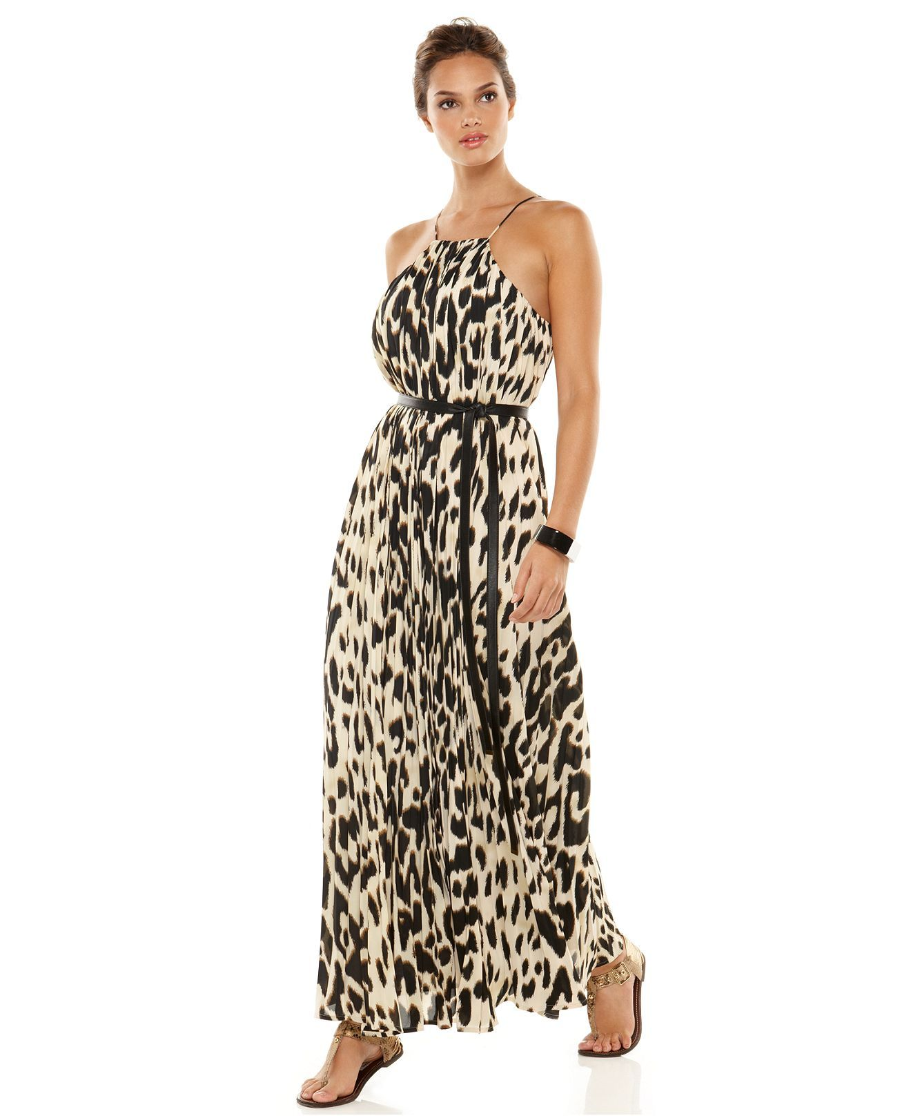 Calvin klein dress sleeveless belted printed pleated maxi