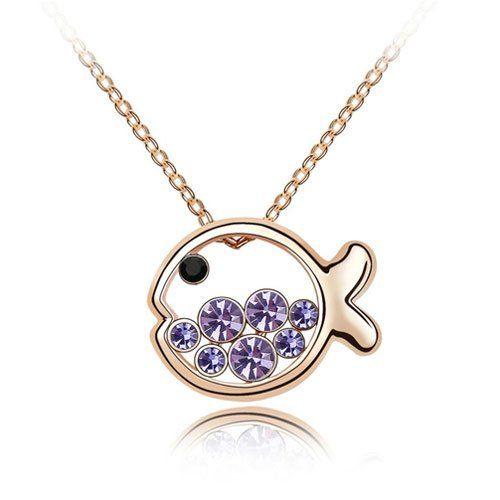 Amazon.com: RareLove Swarovski Elements Amethyst Crystal Cute Fish pendant necklace: Jewelry