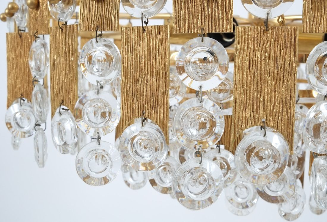 Delicate palwa chandelier composed of jewel like glass pieces and delicate palwa chandelier composed of jewel like glass pieces and grained brass plates in excellent arubaitofo Images