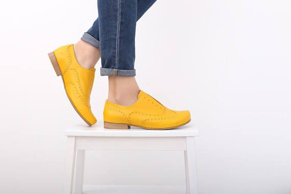 cd963ce6a54 Yellow shoes , Women's oxfords shoes wide Leather shoes , handmade leather  flats ADIKILAV free shipp