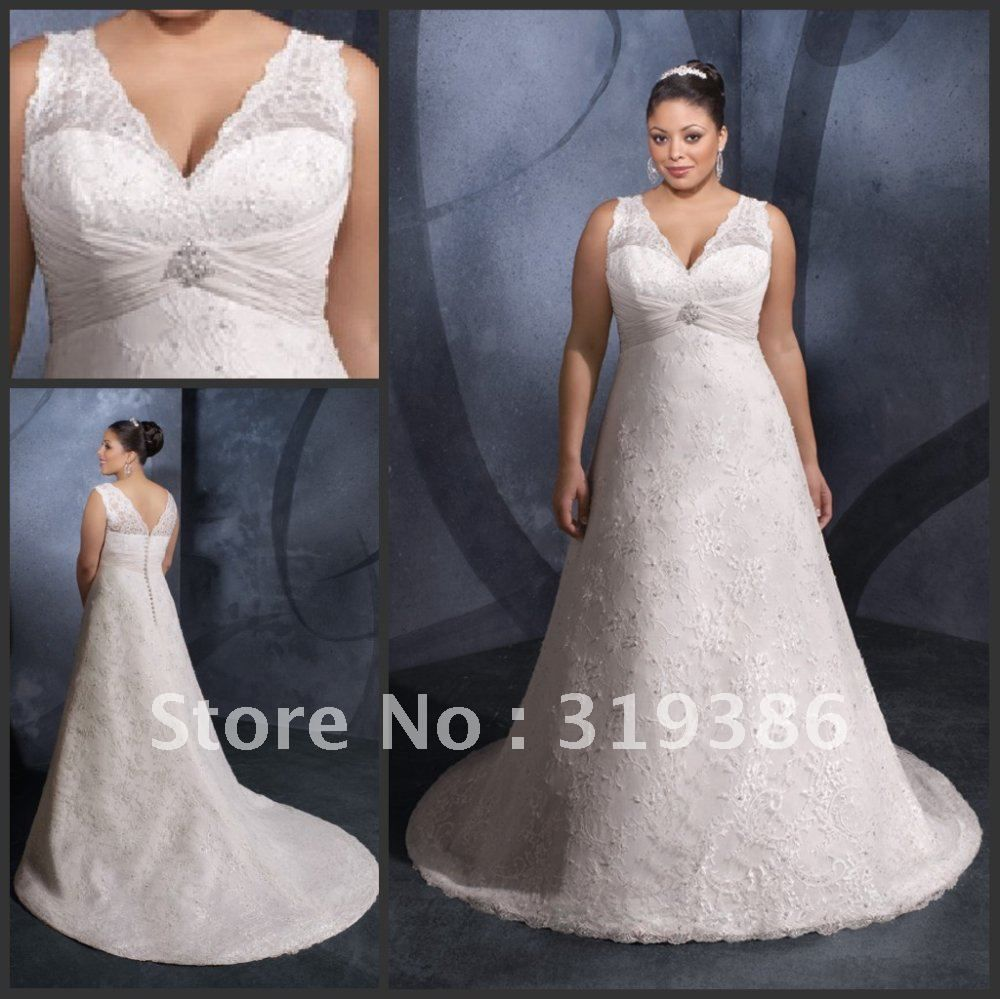 plus size wedding dress patterns | ... neck-Lace-Plus-Size-Wedding ...