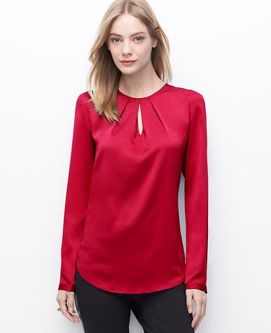 640c343eb7 Petite Pleated Keyhole Blouse | *Ann Taylor* in 2019 | Blouse, Red ...