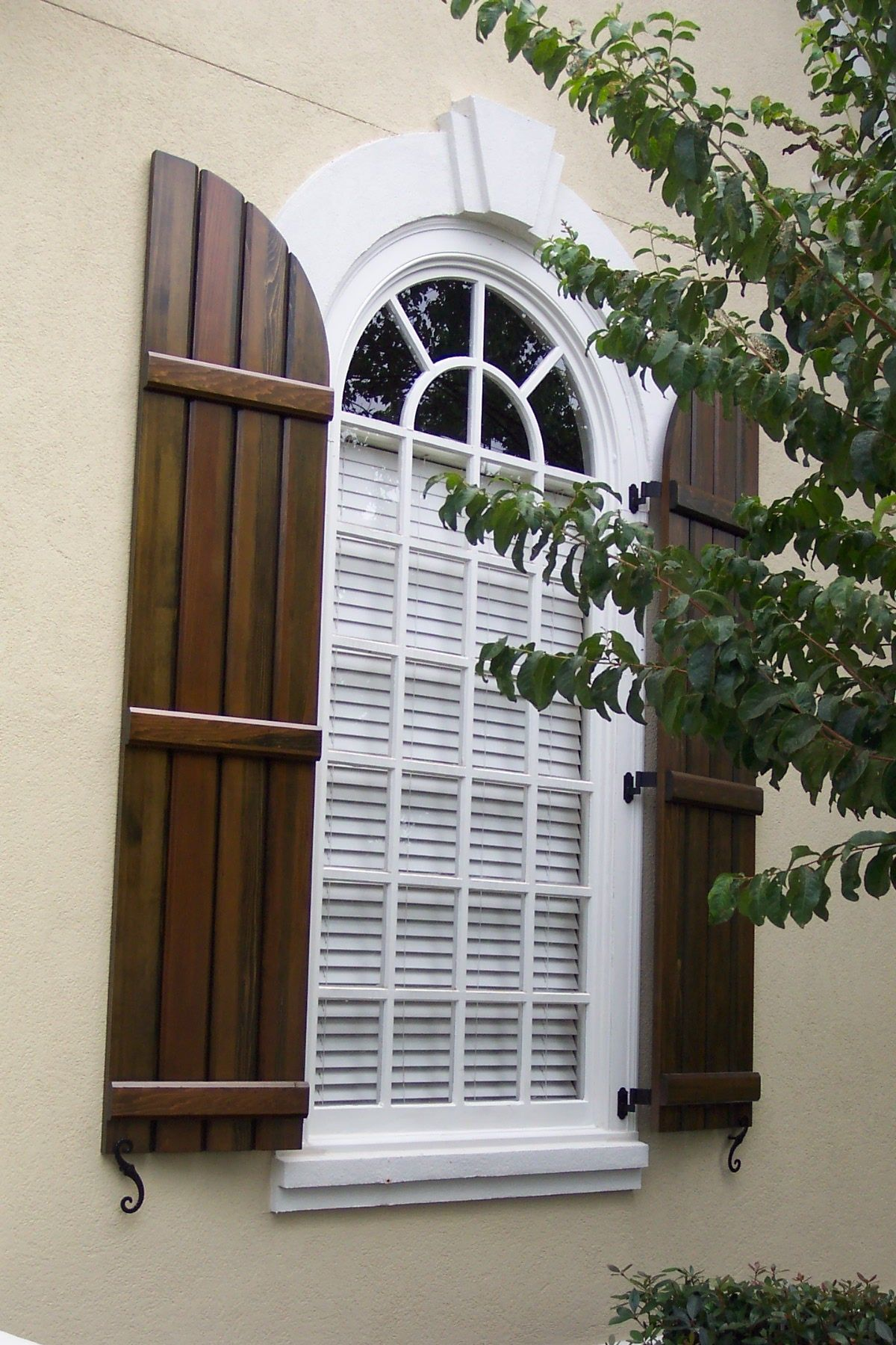 Board and batten exterior shutters cross creek home - Exterior wooden shutters for windows ...