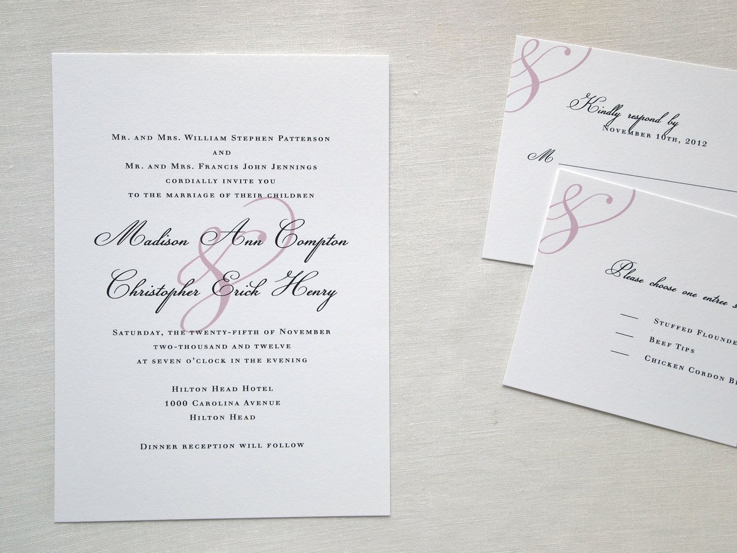 SAMPLE -  Elegant Pink Accent Wedding Invitation Suite with RSVP - Simple and Classic. $3.00, via Etsy.