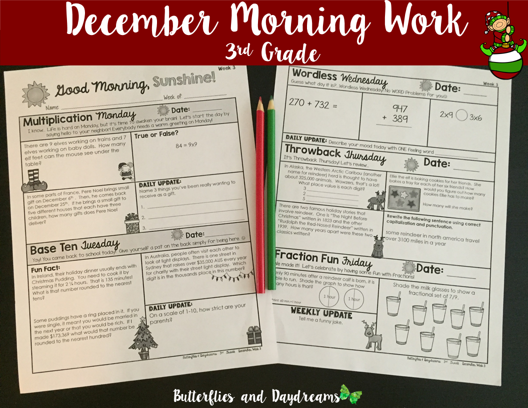 Morning Work 3rd Grade December