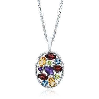 Multi-Gemstone Pendant in Sterling Silver available at #HelzbergDiamonds