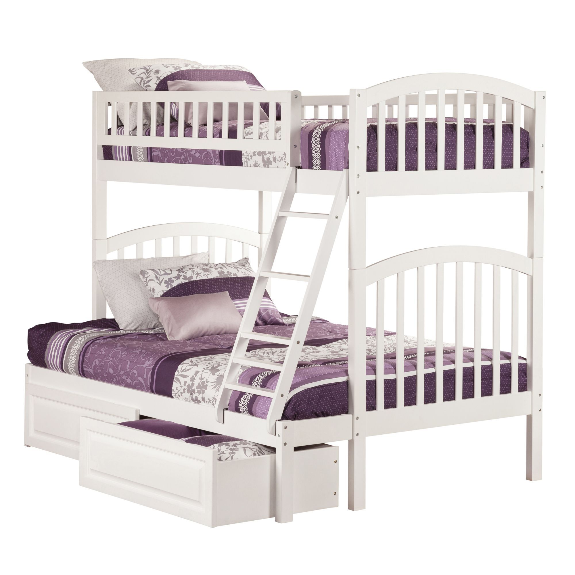 Loft bed with slide wayfair  Atlantic Richland White Twinoverfull Raisedpanel Bed Drawers Bunk