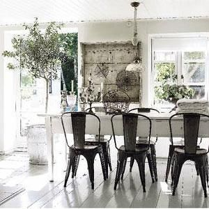 Dining Room Tolix Cafe Chairs Chunky White Farmhouse