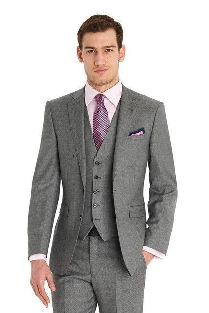 2016 Custom Made Mens Light Grey Suits Fashion Formal Dress Men Suit Set Wedding Groom Tuxedos Jacket Pants Vest Tie
