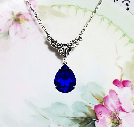 Sapphire Necklace Sapphire Blue Glass Rhinestone Necklace Art Deco Style Jewelry September Birthstone Wedding Something Blue Prom Plus Size