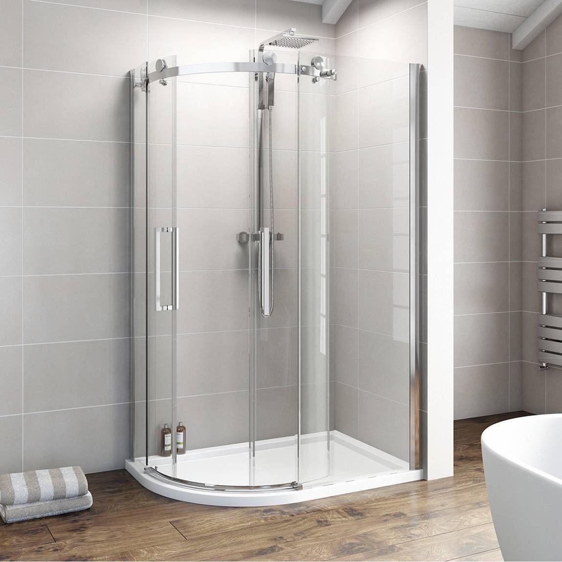 V8 frameless offset quadrant shower enclosure 1200 x 900 for Small baths 1200