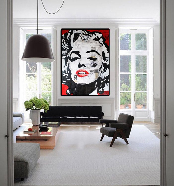 Marilyn Monroe Painting Monroe Interior Design Living Room Home Decor Living Room Decor Monroe Wall Art Kathleen Artist Large Abstract Painting Canvas Art Painting Oil Painting Abstract