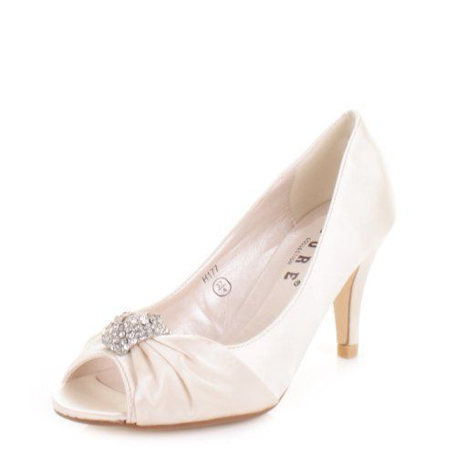 Ivory Silk Peep toe court shoes with diamante brooch QXd0b