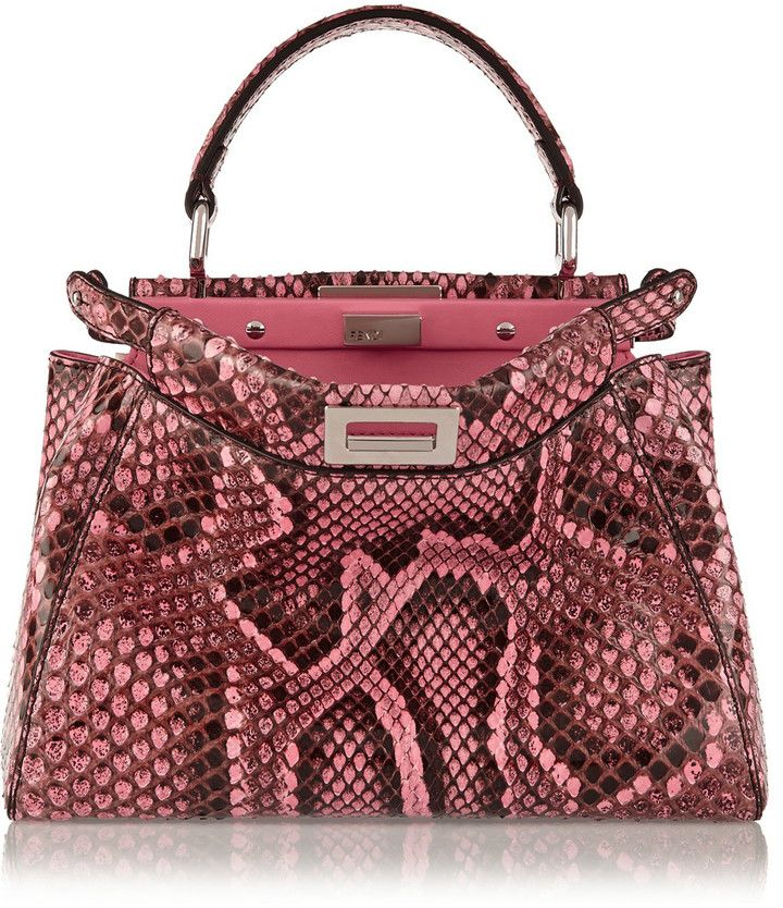 c3d30e597ff1 Fendi Peekaboo Mini Python Shoulder Bag -  5