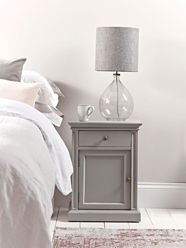 Lynton Compact Grey Slim Bedside Table In 2020 Slim Bedside Table Bedside Furniture Collection