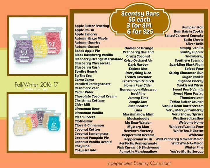 Current list of wax bars https://mckinney.scentsy.us/