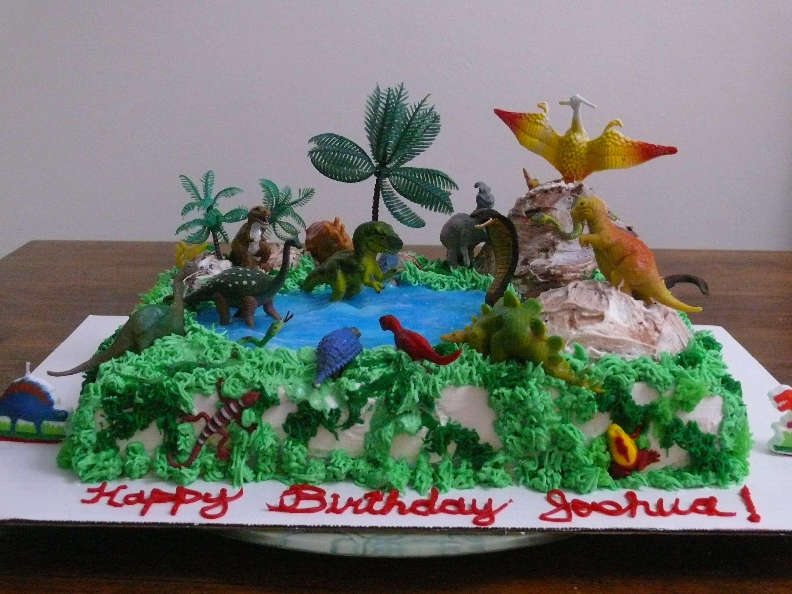 Dinosaur King Cobra Birthday CakeWhite cake 9 x 13 and the hills